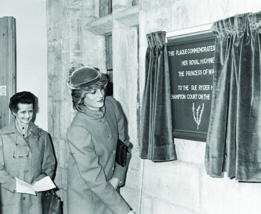 Diana Princess of Wales unveiling a plaque