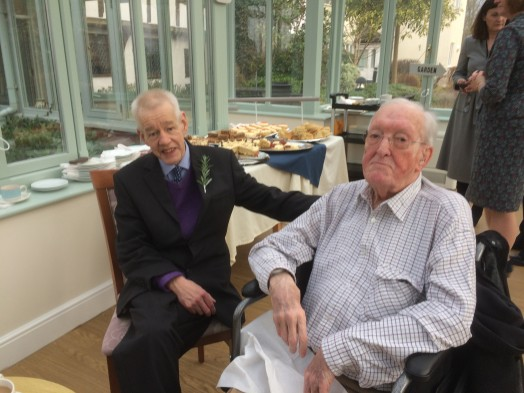 Jeromy Cheshire sitting with Arthur Nicholls, the first Treasurer and Trustee of the LRWMT